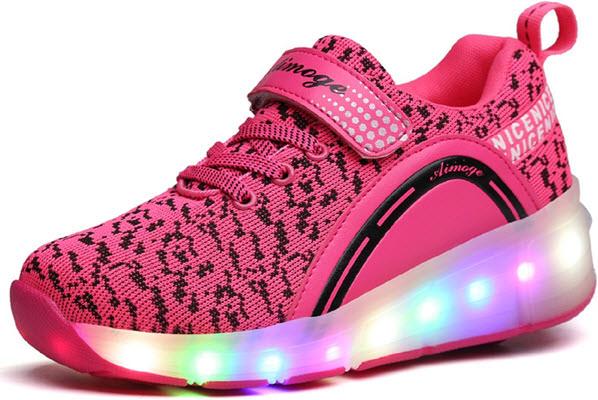 mejores zapatillas con ruedas led para niñas ecotish rosa